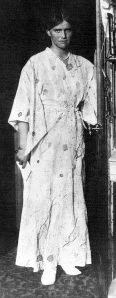 Oriental styles inspired through Kimono dress 1915.