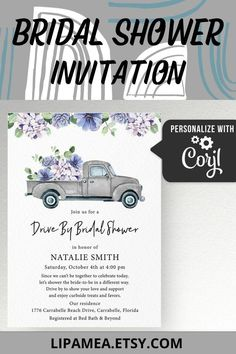 This purple floral truck bridal shower invitation is an Editable template. Edit yourself using your computer, phone or any other device. Visit our #etsy shop, click on TITLE or follow this link: lipamea.etsy.com to see more info about this template #bridalshower #invitation #floral #invite #wedding #purple #winter #fall #truck #floral #purpleflowers #party #trends Bridal Shower Invitations, Party Invitations, Wedding Tips, Wedding Planning, Perfect Wedding, Dream Wedding, Best Day Ever, Purple Wedding, Bridesmaid Gifts