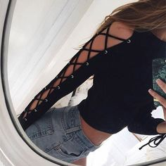 Lace Up Black Casual Cropped Long Sleeves Cut Out Shirt Pullover Basic Knitwear Crop Top About Gender: Women Decoration: Hollow Out Clothing Length: Short Sleeve Style: Regular Pattern Type: Solid Sty
