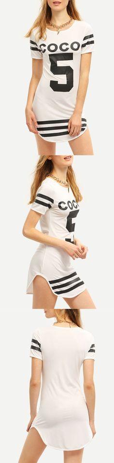 White Crew Neck Coco 5 Print Striped Dress
