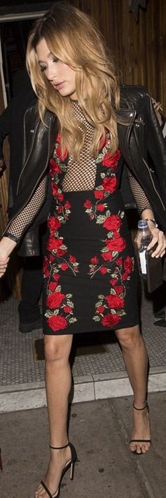 Who made Hailey Baldwin's black leather jacket, floral dress, and sandals?