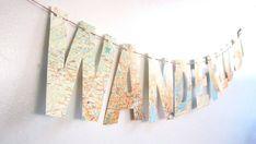 Wanderlust Travel ThemeMap Banner Bon Voyage Party by MagpieandMax