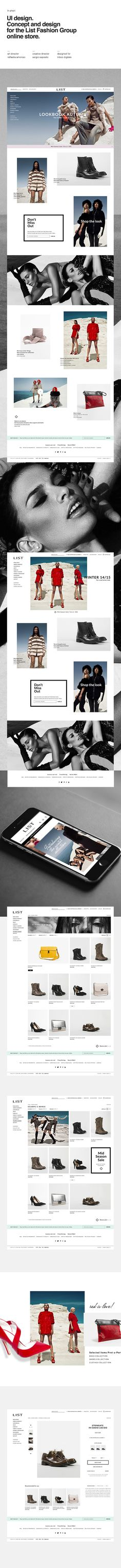 List Fashion Group online store on Behance Fashion site inspiration, nice imagery, use of responsive, colours