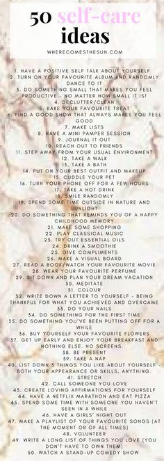 50 self-ideas for your wellbeing and mental health. 50 simple ideas to start taking care of yourself RIGHT NOW! #selfcare #selfcaresunday #selfcareideas #bossbabe