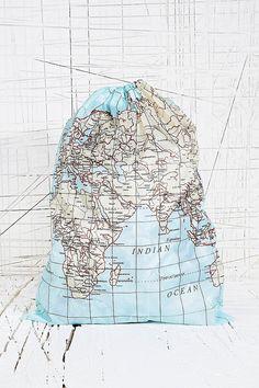 World Map Laundry Bag - UrbanOutfitters