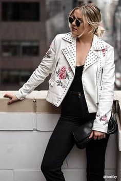Studded Floral Moto Jacket
