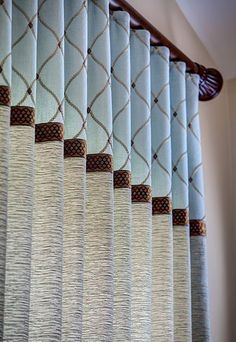 Ripplefold panel embroidered fabric trim banding color blocking Add Banding to your window treatments for some added interest and personality! Curtains And Draperies, Luxury Curtains, Home Curtains, Drapery Panels, Custom Curtains, Valances, Drapery Styles, Curtain Styles, Curtain Patterns