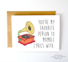 Funny Record Card Music Card Best Friend Card by KnottyCards