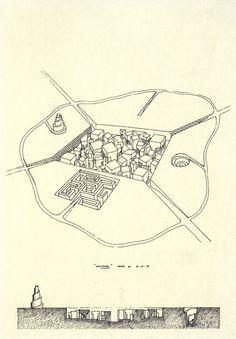 LEON KRIER, LABYRINTH CITY, PROJECT, 1971