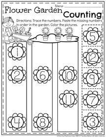 Preschool Number Order Worksheet for Spring - Flower Garden Counting.