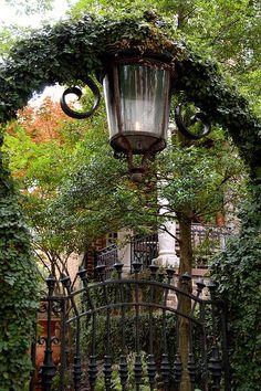 Flame Street Lamp and Garden Entrance: Savannah, Georgia