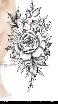Family Tattoo Designs, Family Tattoos, Girl Tattoos, Flower Tattoo Stencils, Flower Tattoos, Flower Line Drawings, Cute Tattoos For Women, Tattoo Design Drawings, Tattoo Feminina