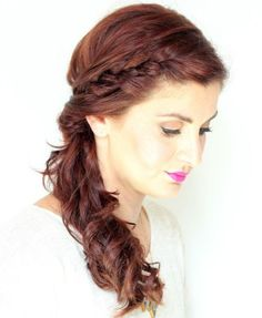 side braid and curly side ponytail hairstyle