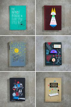 Pretty painted books by Frank Chimero (via designworklife)