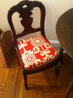Reupholstered Dining Room Chair. Fabric And Foam Cushion From JoAnne Fabrics.  We Found These