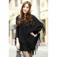 $9.62 Women's Black Cotton Thread Loose-Fitting Cardigan With Dolman Sleeves Fringe Casual Design