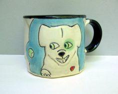 Dog Mug, Dog Loves Ball Blue and White Coffee Mug or Tea Mug, Ball Dog, Animal Pottery, Dog Lover's Gift