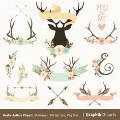 Deer Horn with Flowers. Floral Antlers Clip by Graphikcliparts Planner Stickers, Deer Horns, Rustic Flowers, Happy Planner, Textile Design, Illustration, Arts And Crafts, Artsy, Stickers