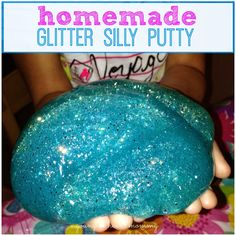 Homemade Glitter Silly Putty using Elmer's Glitter Glue, Borax, and water.