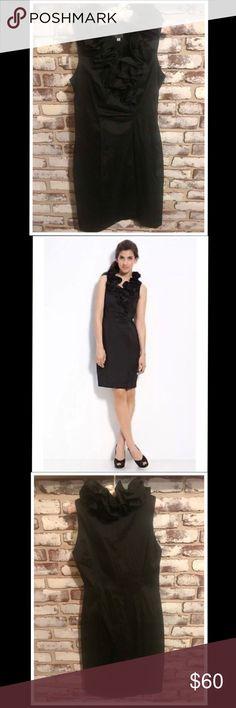 Xscape Dress by Joanna Chen Size 6 Xscape Dress by Joanna Chen Black// Taffeta// Ruffled collar// Perfect little black dress// Like new// Original price $148.00 Xscape Dresses Midi