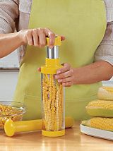 Deluxe Corn Stripper   Removes corn with just a twist. Hands stay safely away from blades with this corn stripper. Splatters stay contained and kernels fall into the easy-to-empty chamber. This handy tool takes one-quarter the time and because the blades are covered, there is no risk of a cut. Just twist, and stainless steel teeth slice off kernels to deposit them into the see-through cylinder. Juice and splatters stay contained, so there's no mess.  #kitchen #gadgets