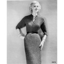 Knitting Pattern for ribbed Dress with buttoned v-neckline, three quarter sleeves and belted waist.   A classic !   l  Vintage Knit Crochet Pattern Shop