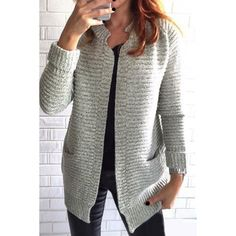 $17.76 Trendy Stand Collar Long Sleeve Solid Color Pocket Design Cardigan For Women