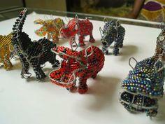 african metal wire elephants