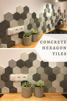 I would love these concrete hexagon tiles in my kitchen. They are just perfect, unique and beautiful. #commissionlink #concrete #cement #tiles #hexagon #geometric #home #decor #kitchen #honeycomb