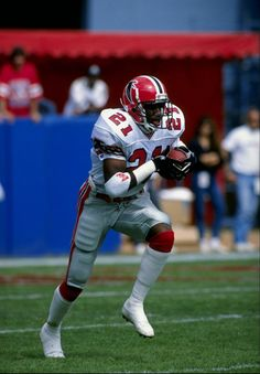 Deion Sanders (DB) Falcons - First Year: 1989 - 12 seasons - Drafted: Round 1, Pick 5 Falcons Players, Falcons Football, Football Players, Football Uniforms, Nba, Football Is Life, Football Stuff, Nfl History, Football Conference