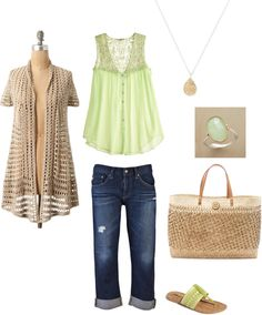 Green Casual Spring/Summer, created by rhiannedbutler on Polyvore