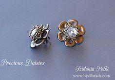 Beaded Earrings Post Stud Earrings Czech Rose by SidoniasBeads