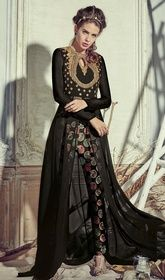 Black Color Georgette Embroidered Pant Style Suit.   #pantstylesuit #jaipurisuits Immerse yourself in elegance as you drape on this black color georgette embroidered pant style suit. The wonderful attire creates a dramatic canvas with remarkable lace and stones work.  USD $ 102 (Around £ 70 & Euro 78)