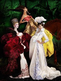 Gowns by John Galliano for Dior Couture,Photo by Simon Procter  for Harper's Bazaar