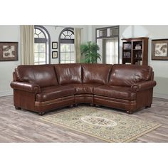 Redmond Distressed Mahogany Italian Leather Sectional Sofa