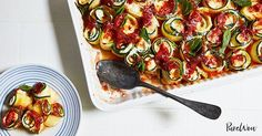 """Baked Zucchini """"Ziti"""" Spirals with Mozzarella  via @PureWow"""