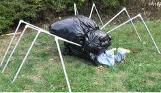 pvc spider with trash bags having lunch