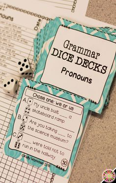 Looking for ideas to increase engagement with your students? DICE DECKS interactive task cards teach specific skills while keeping their attention! Great for individual, small group (speech therapy, RTI, etc.), or even whole-class learning. Click to view this Pronouns grammar set!