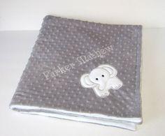 Personalized Baby Blanket, Elephant Blanket, Toddler Blanket, Design Choice, 20+ Minky Colors, Custom Baby Bedding, Baby Boy, Baby Girl