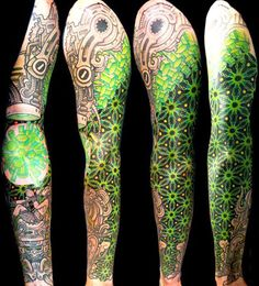 Geometric Tattoo by Delaine NEO Gilma. Very cool biomechanical. I like the colors too.