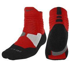 new concept 0a03a f91be Nike Mens HYPER Elite DriFit Basketball High Quarter Socks Sz 12-15 XL Red  BLK   eBay