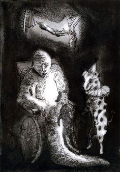 Circus Giclee Print. Black and white Art. Freaks illustration. Surreal Wall Art. Freak Show. Geek Love. Carnival Etching. Fantasy. Side show by sassyluke on Etsy