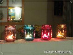porta velas de potes de vidro