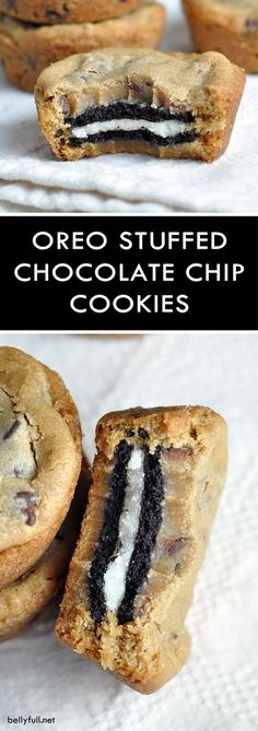 These Oreo Stuffed Chocolate Chip Cookies are double stuffed Oreo cookies sandwi., Genel, These Oreo Stuffed Chocolate Chip Cookies are double stuffed Oreo cookies sandwiched in between two chocolate chip cookies. The BEST cookies ever! Source by Oreo Dessert, Cookie Desserts, Just Desserts, Delicious Desserts, Oreo Cookies, Dessert Recipes, Yummy Food, Chocolate Cookies, Oreo Stuffed Cookies