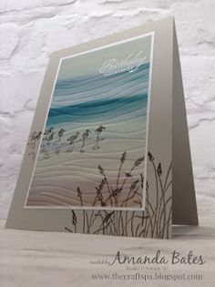 Stampin' Up Beach Card [Wetlands Stamp Set, Serene Scenery DSP, Seaside Embossing Folder] Wetlands Stampin Up, Happpy Birthday, Nautical Cards, Beach Cards, Embossed Cards, Bird Cards, Stamping Up Cards, Am Meer, Masculine Cards