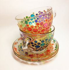 Rainbow tea cups by ArtMasha
