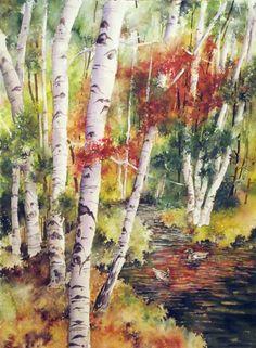 Autumn Colorado Aspen Forest original watercolor painting