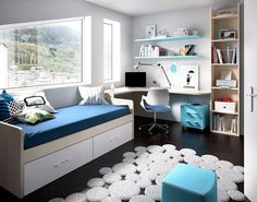 Children's modern bedroom composition with single bed, desk, bookshelf and wall shelving