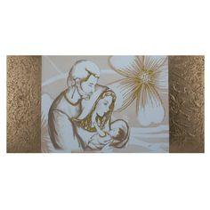 Capezzale quadro su tela Sacra Famiglia fasce laterali Oro Madonna, Elegant Curtains, E Design, Sacramento, Religion, Wedding Day, Tapestry, How To Make, Painting