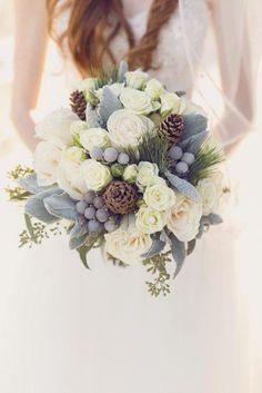 White silver berry wedding posy bouquet